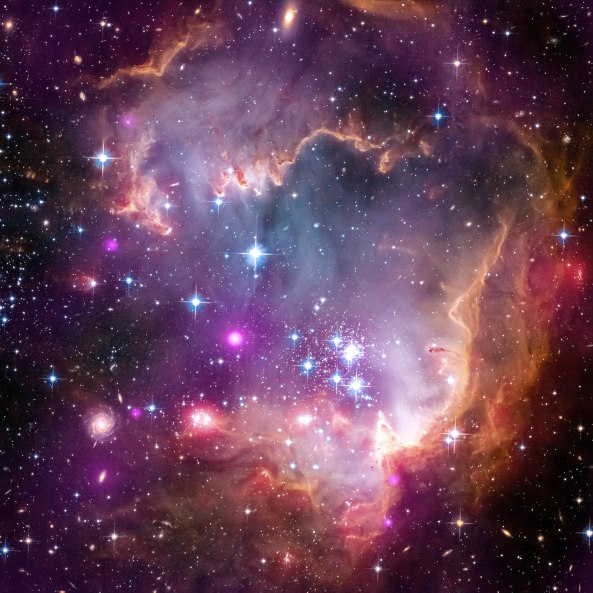 Young stars in the Small Magellanic Cloud (SMC), one of the closest galaxies to our Milky Way.