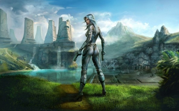 women-landscapes-guns-futuristic-weapons-bodysuits-science-fiction-artwork-female-warriors-hd-wallpapers